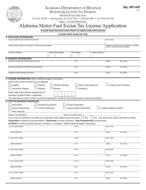 Form B&L: MFT-APP  Printable Pdf