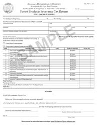 Form B&L: FPST-1 Forest Products Severance Tax Return - Sample - Alabama