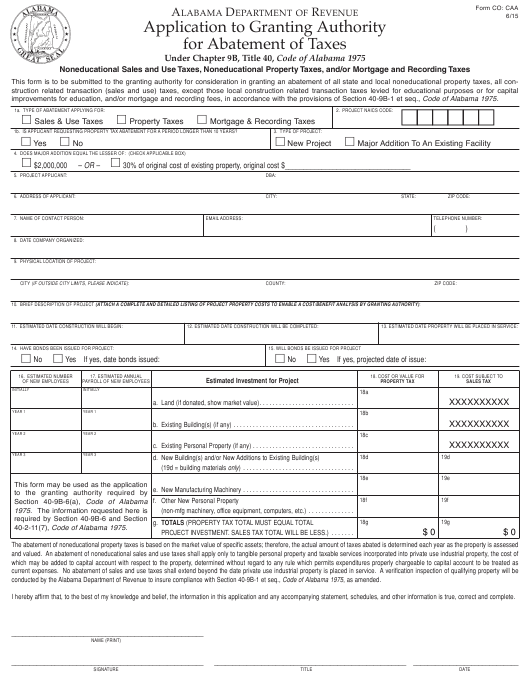 Form CO: CAA  Printable Pdf