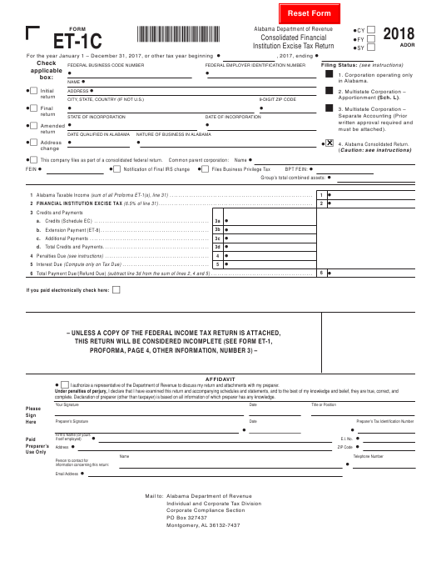 Form ET-1C 2018 Printable Pdf