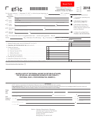 Form ET-1C 2018 Consolidated Financial Institution Excise Tax Return - Alabama
