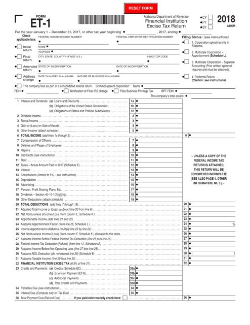 Form ET-1 2018 Printable Pdf