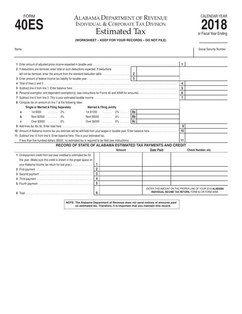 Form 40ES 2018 Printable Pdf