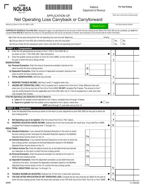 Form NOL-85A Printable Pdf