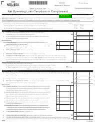 Form NOL-85A Application of Net Operating Loss Carryback or Carryforward - Alabama