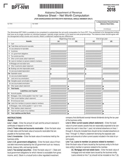 """Worksheet Bpt-Nwi - Balance Sheet - Net Worth Computation"" - Alabama Download Pdf"