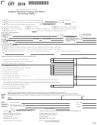 "Form CPT ""Alabama Business Privilege Tax Return and Annual Report"" - Alabama, 2018"