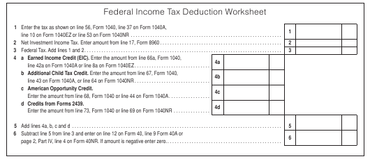 Federal Income Tax Deduction Worksheet