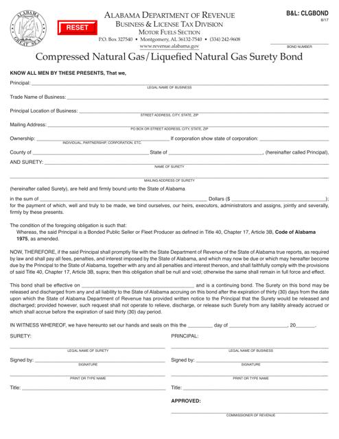Form B&L: CLGBOND  Printable Pdf
