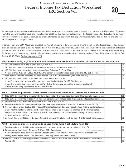 """Federal Income Tax Deduction Worksheet IRC Section 965"" - Alabama Download Pdf"