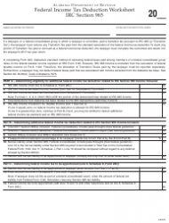Federal Income Tax Deduction Worksheet - Alabama