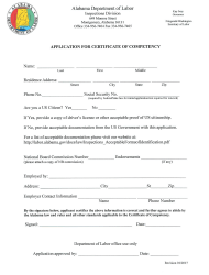 """Application for Certificate of Competency"" - Alabama"