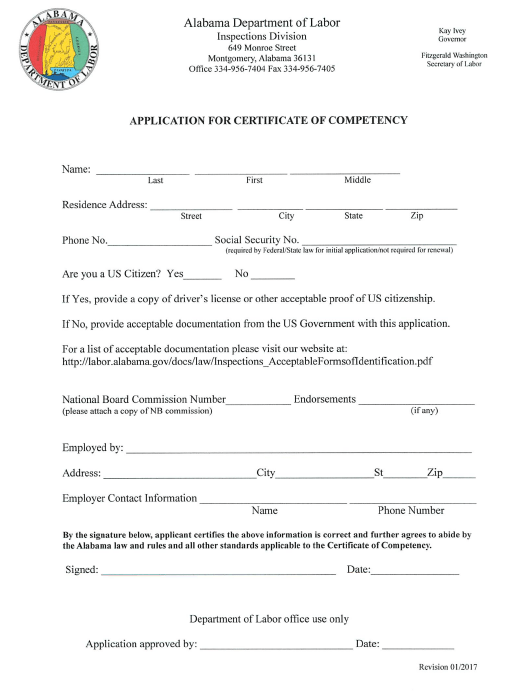"""Application for Certificate of Competency"" - Alabama Download Pdf"