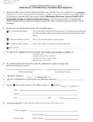 "Form 480 ""Individual Confidential Information Request"" - Alabama"