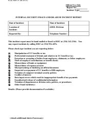 "Form ISEC-F ""Internal Security Fraud and/Or Abuse Incident Report"" - Alabama"