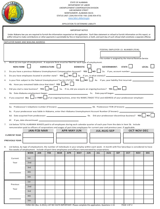 Form SR-2  Printable Pdf