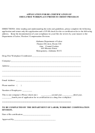 """Application for Re-certification of Drug-Free Workplace Premium Credit Program"" - Alabama"