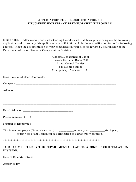 """Application for Re-certification of Drug-Free Workplace Premium Credit Program"" - Alabama Download Pdf"