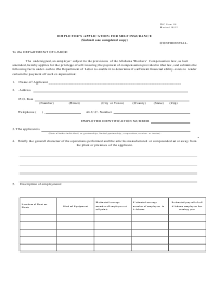 "Form WC18 ""Employer's Application for Self Insurance"" - Alabama"