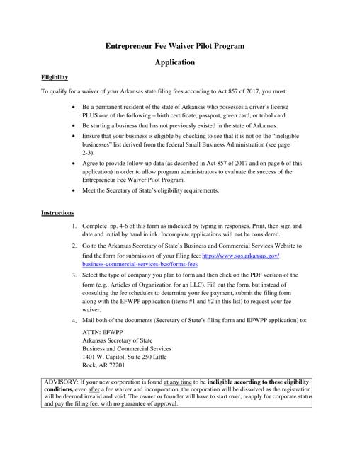 """Entrepreneur Fee Waiver Pilot Program Application Form"" - Arkansas Download Pdf"