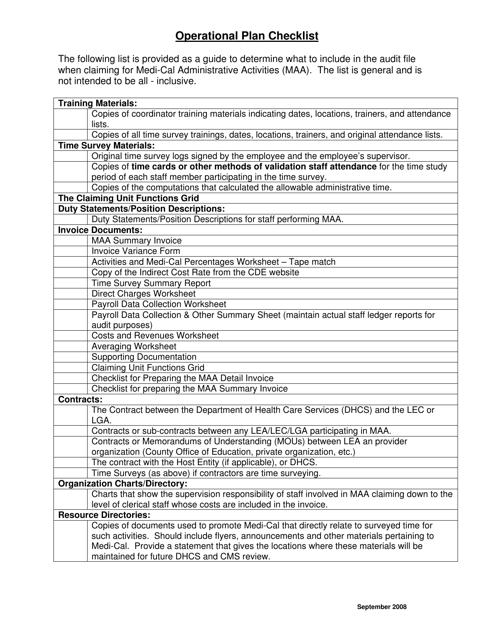 """Operational Plan Checklist"" - California Download Pdf"
