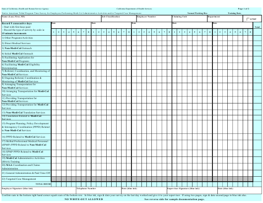 """""""Native American Tribal Program Time Survey for Employees Performing Medi-Cal Administrative Activities and/or Targeted Case Management"""" - California Download Pdf"""