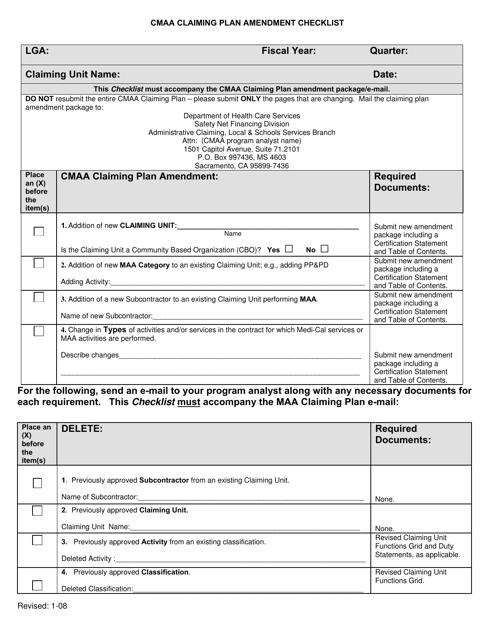 """Cmaa Claiming Plan Amendment Checklist"" - California Download Pdf"