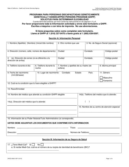 Form DHCS 4000 A SP  Fillable Pdf