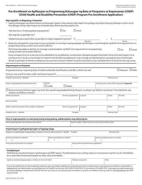 Form DHCS4073 Printable Pdf