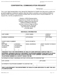 Form DHCS 6235A Confidential Communication Request - Northern California, California