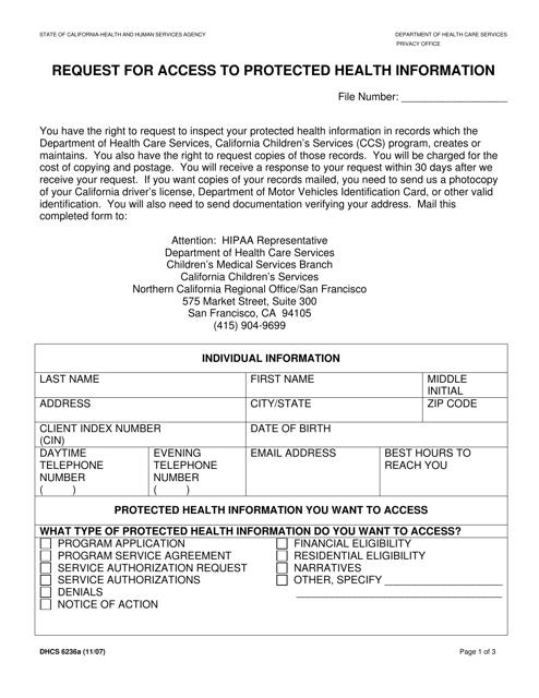 Form DHCS6236A  Printable Pdf