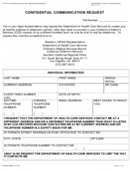 Form DHCS 6235A Confidential Communication Request - Southern California, California