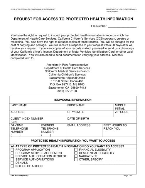 Form DHCS 6236A Download Fillable PDF, Request