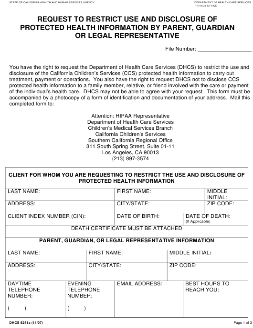 Form DHCS6241A  Printable Pdf