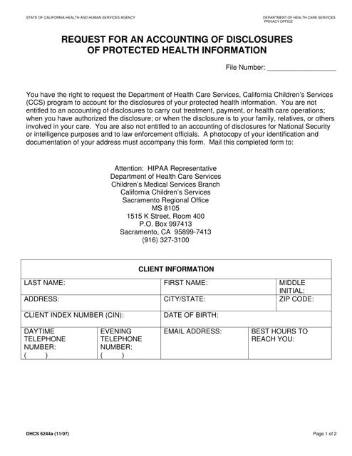 Form DHCS6244A  Printable Pdf
