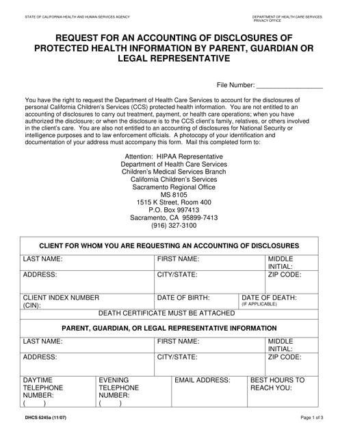 Form DHCS6245A  Printable Pdf