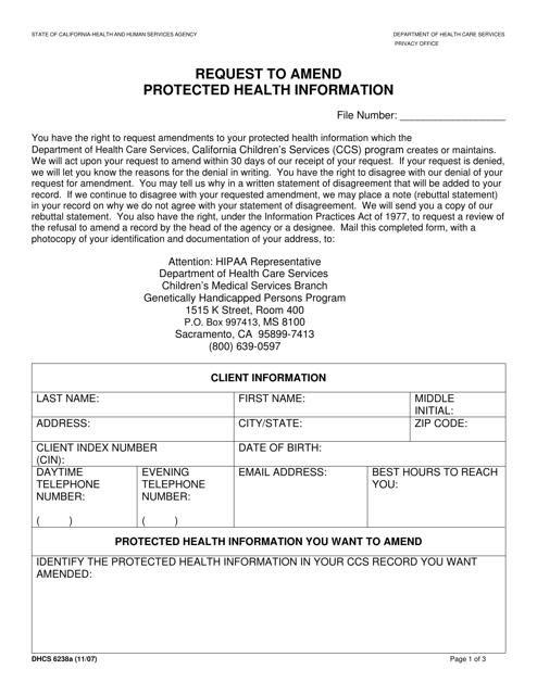 Form DHCS6238A  Printable Pdf