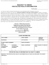 Form DHCS 6238A Request to Amend Protected Health Information - Genetically Handicapped Persons Program - California