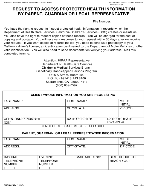 Form DHCS6237A  Printable Pdf