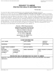 Form DHCS 6238A Request To Amend Protected Health Information - Sacramento, California
