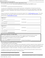 Form DHCS 5260 Fast County Approver Certification & Vendor Appointment Form - California