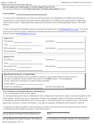 Form DHCS 5262 Dcr County Approver Certification and Vendor Appointment Form - California