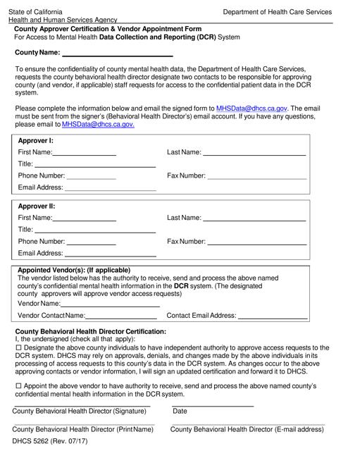 Form DHCS5262  Printable Pdf
