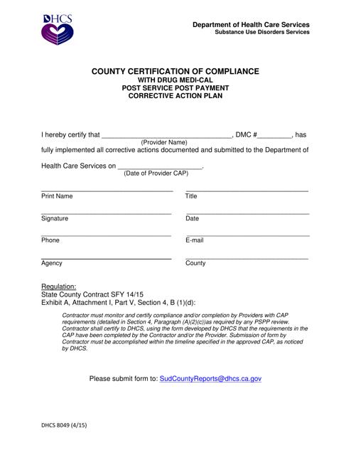 Form DHCS8049  Printable Pdf