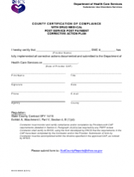 Form DHCS 8049 County Certification of Compliance With Drug Medi-Cal Post Service Post Payment Corrective Action Plan - California