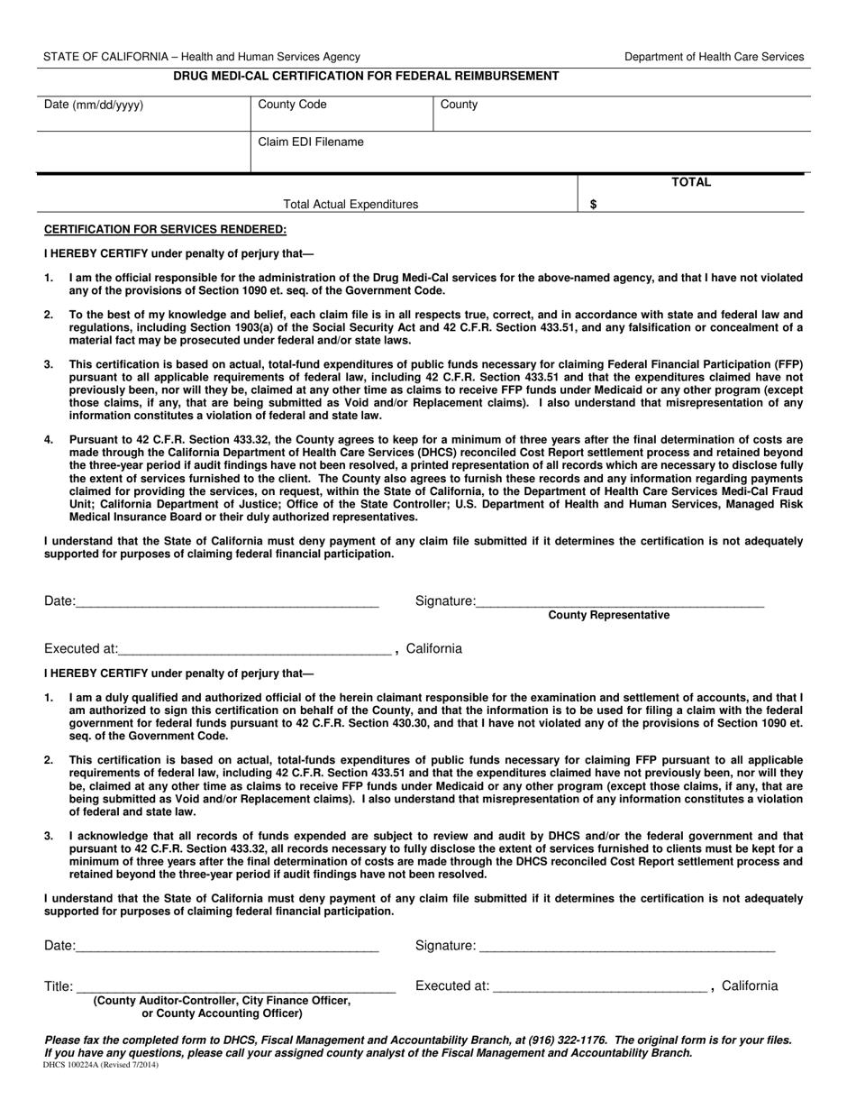 Form DHCS100224A Download Fillable PDF or Fill Online Drug ...