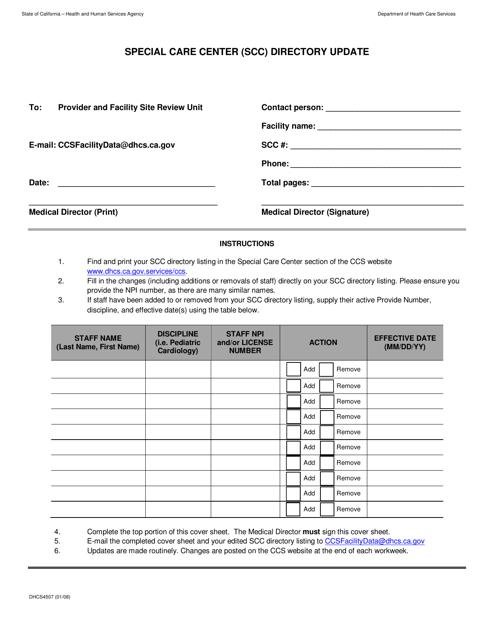 Form DHCS4507  Printable Pdf