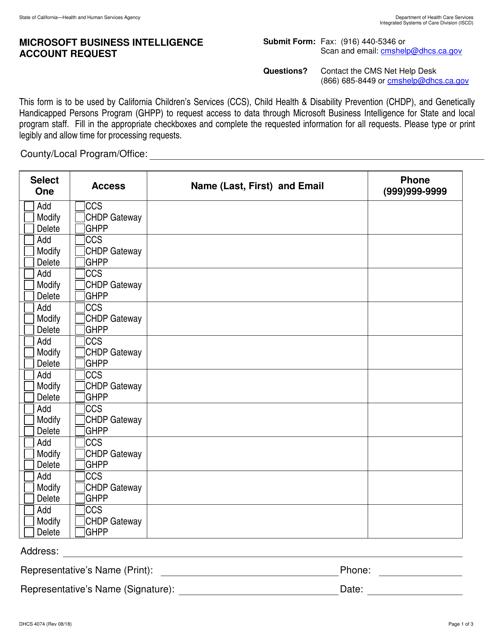 Form DHCS4074  Printable Pdf