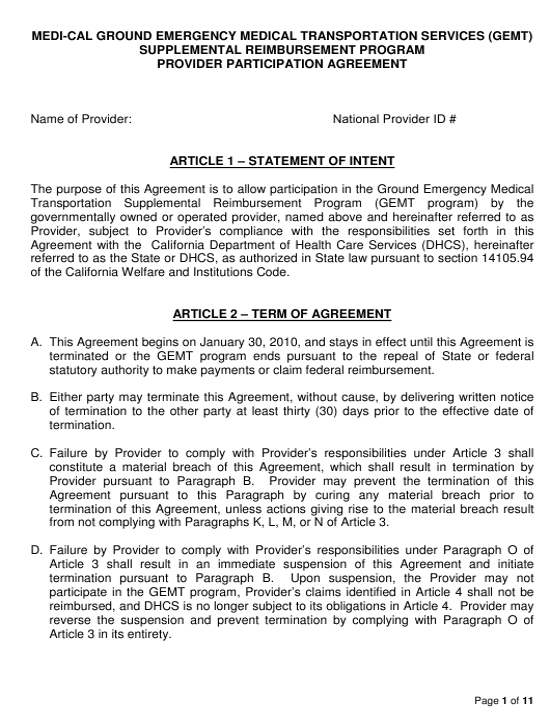 """Medi-Cal Ground Emergency Medical Transportation Services (Gemt) Supplemental Reimbursement Program Provider Participation Agreement Form"" - California Download Pdf"