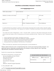 "Form PM359 ""Hearing Screening Request Waiver"" - California"